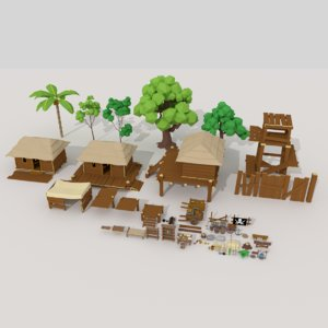 pirate village pack 3D model