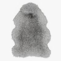 wool sheepskin rug 3D model