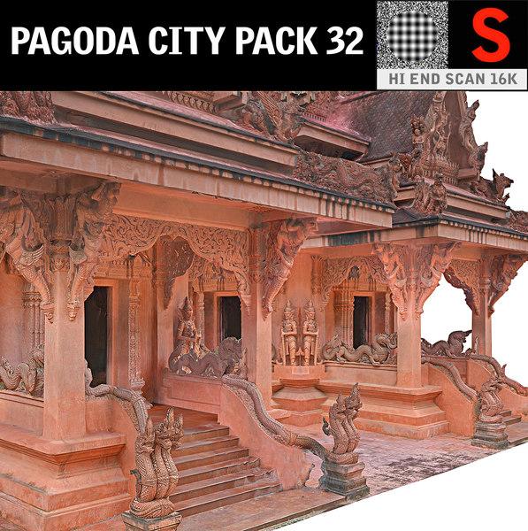 3D pagoda city pack 32 model
