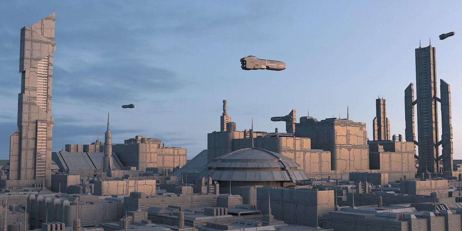 3D sci fi city