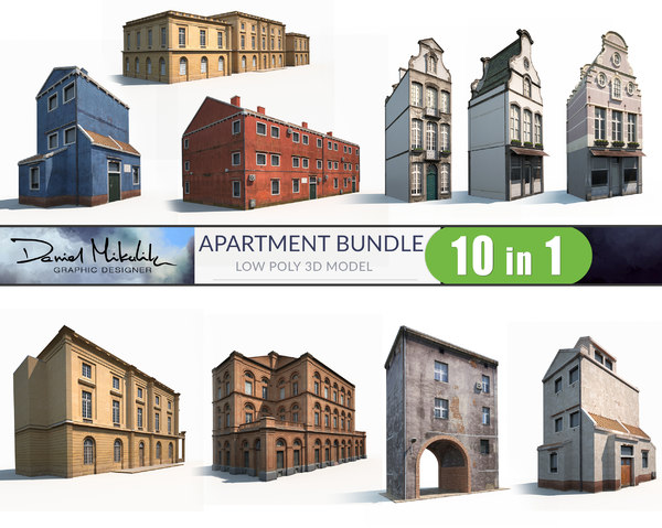 3D model 10 apartment buildings