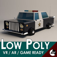 low-poly cartoon police car model