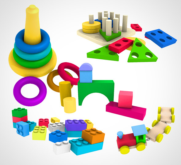 kids toy set 001 3D model