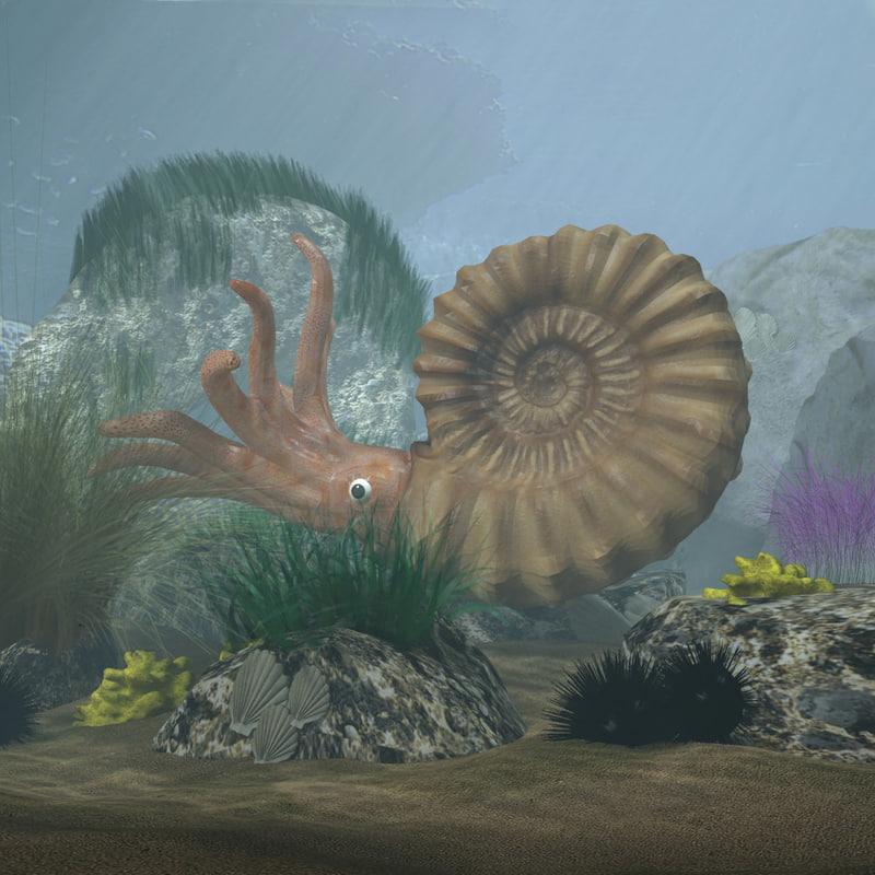3D model ammonites complete underwater scene