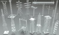 3D 17 pieces electric towers