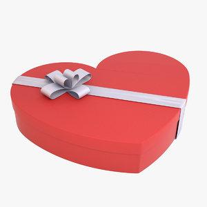 3D heart-shaped box model
