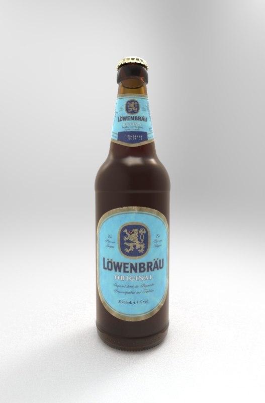lowenbrau beer bottle 3D