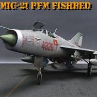 3D mig-21 mig pfm fishbed model
