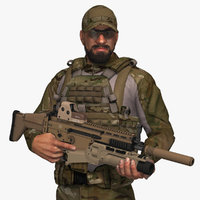 3D model military male soldier set