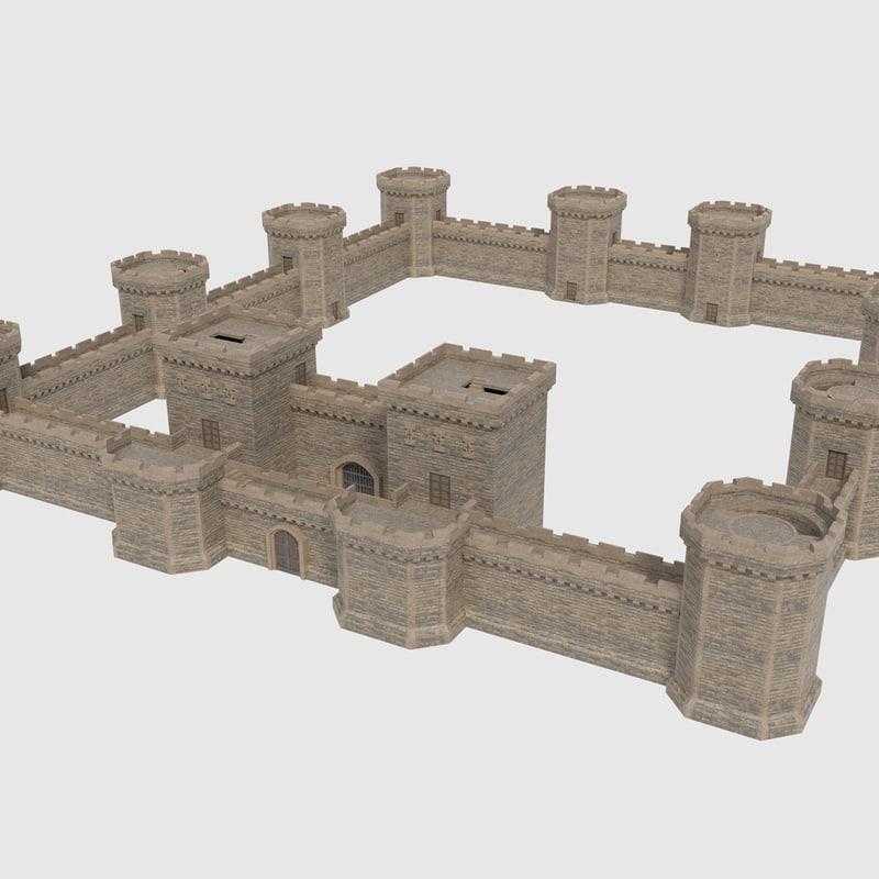 ready castle tower wall model
