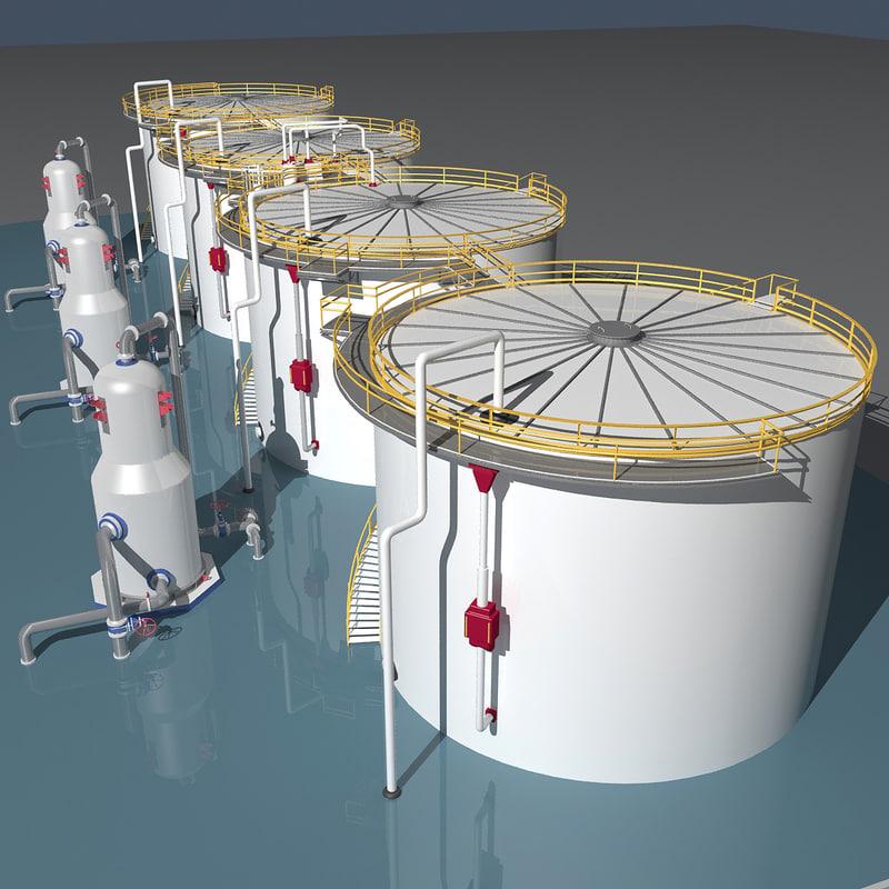 3D industrial oil tanks