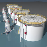 3D industrial oil tanks