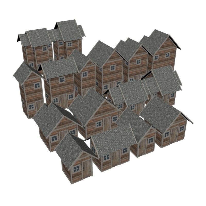 3D modular medieval wood house model