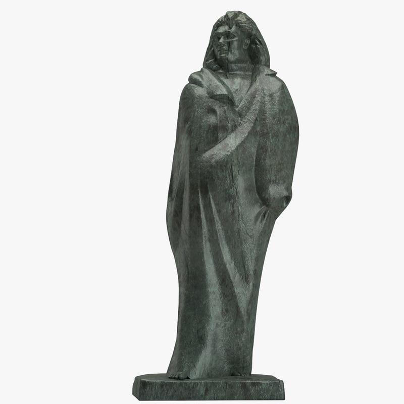 3D monument honore balzac model