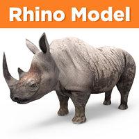 3D dirty realistic rhino