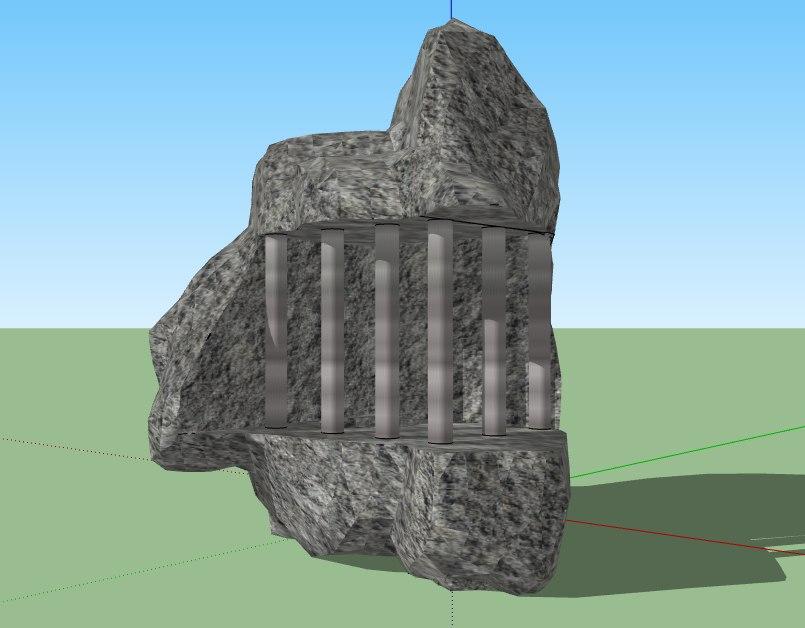 3D rock jail stone