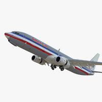 Boeing 737-900 ER American Airlines with Cabin Rigged 3D Model