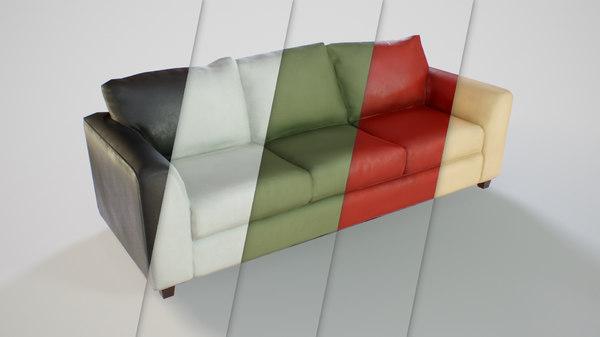 pbr customizable sofa 3D model