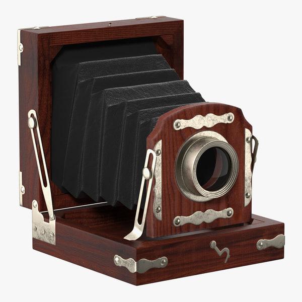 antique folding camera 3D