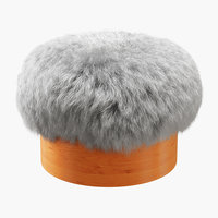 3D wool sheepskin footstool model
