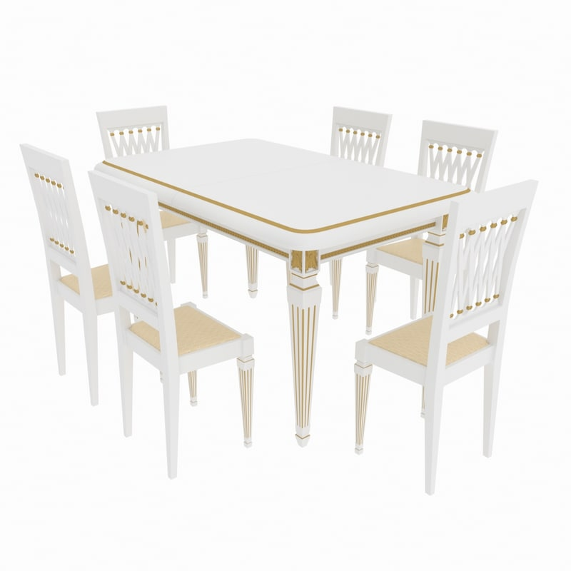 3D model dining set table attimec