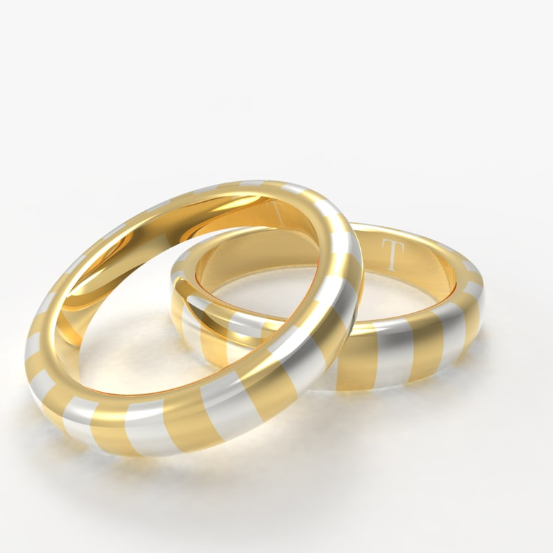 rings gold silver 3D model