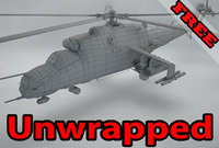 3D model unwrapped russian helicopter