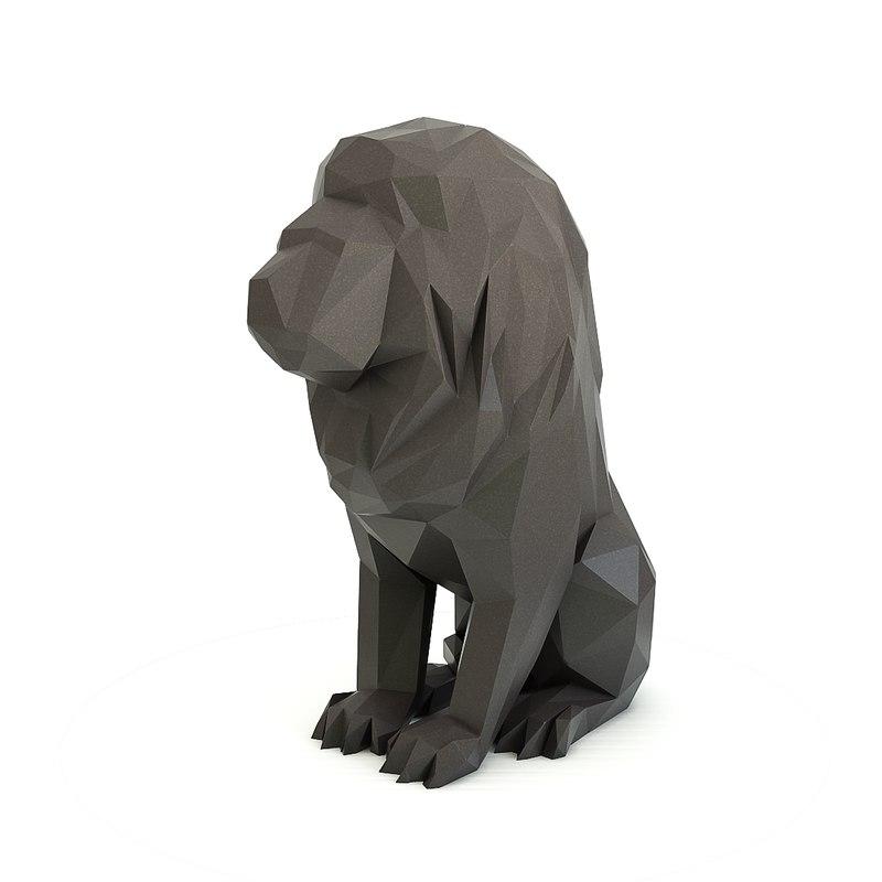 geometric lion 3D model