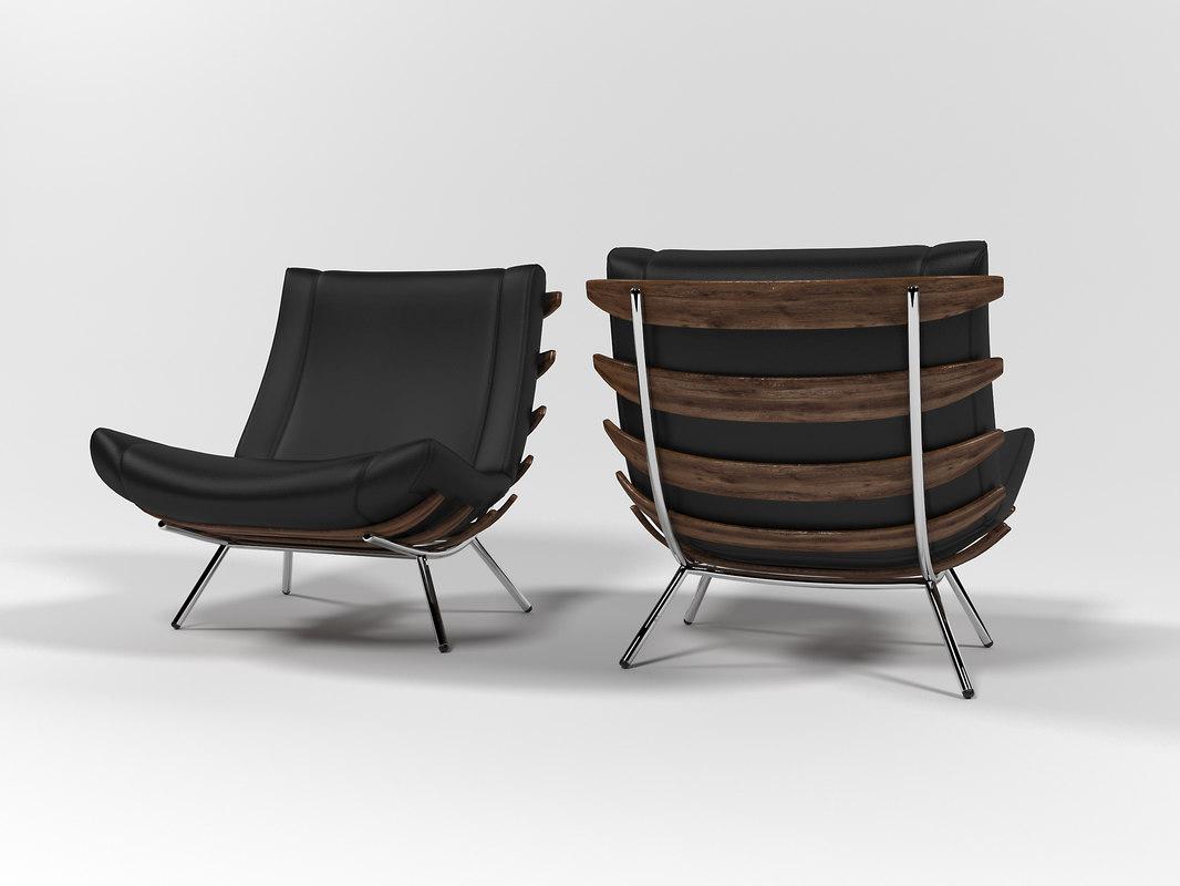 1801 lounge chair 3D model