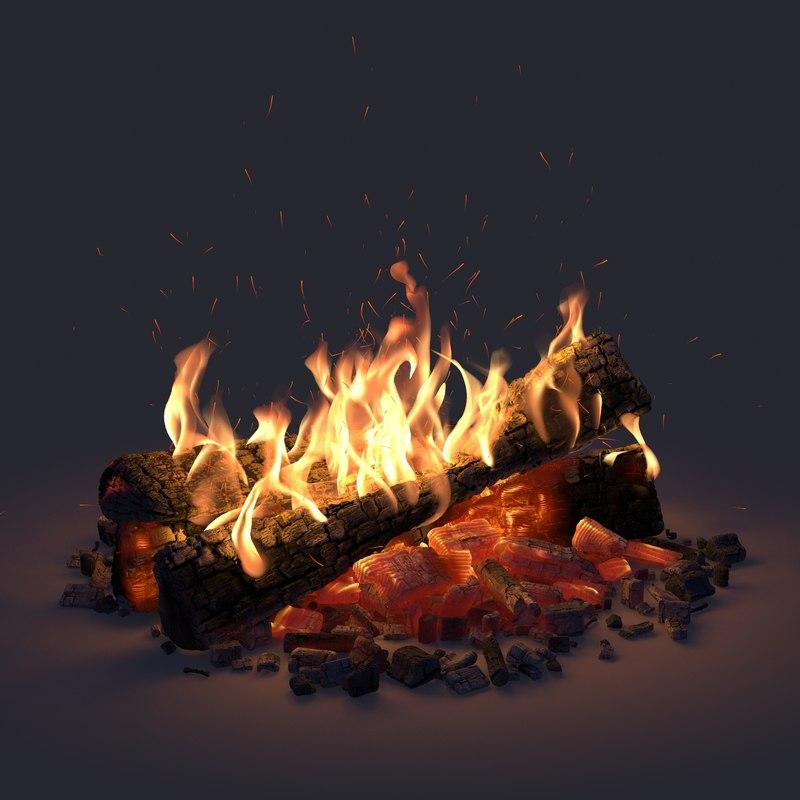 3D model campfire motion blur