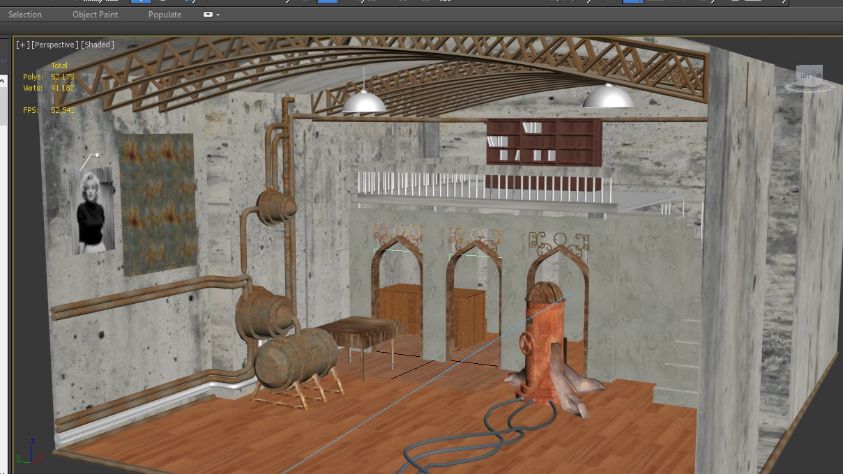 steampunk environment 3D model