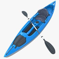Kayak with Paddle Vray PBR with skins