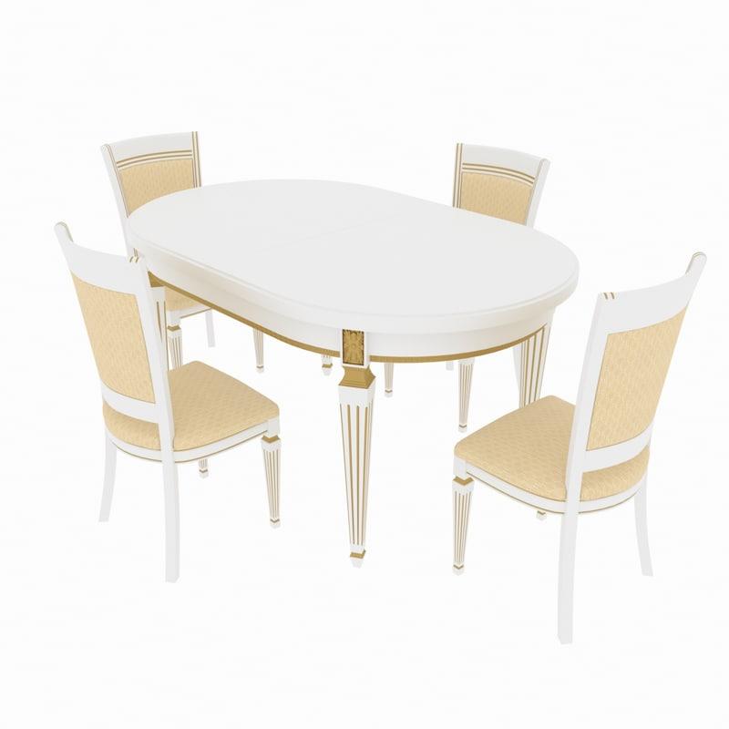 3D model dining set table nike