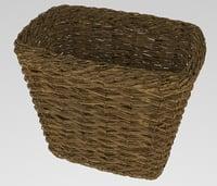 wicker basket linen 3D