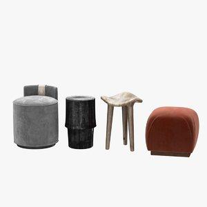 3D pouf stool