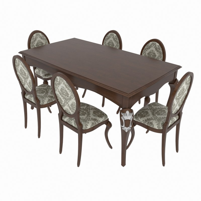 3D - dining set table model