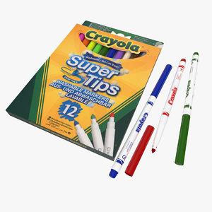 crayola markers 12 3D model