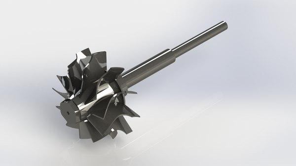 3D garrett gt2860r turbocharger turbine model