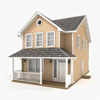 3D model two-story cottage 50
