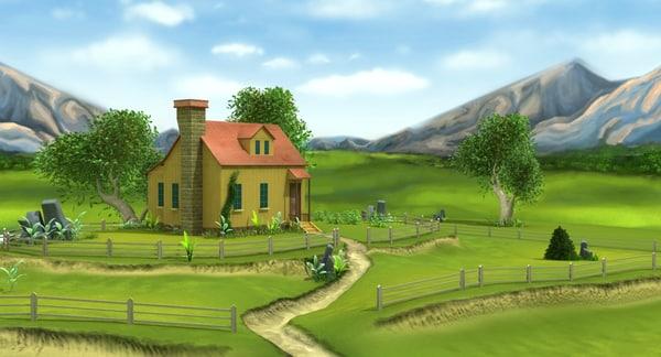 3D farmhouse field