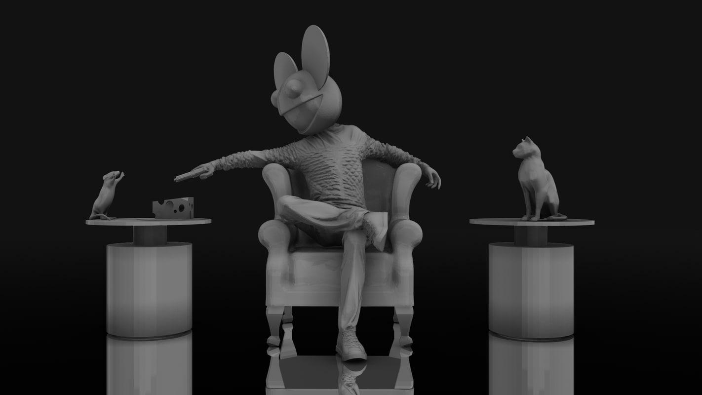 3D model deadmau5 chair gun aim