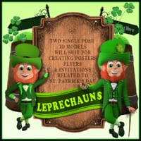 3D model set leprechauns