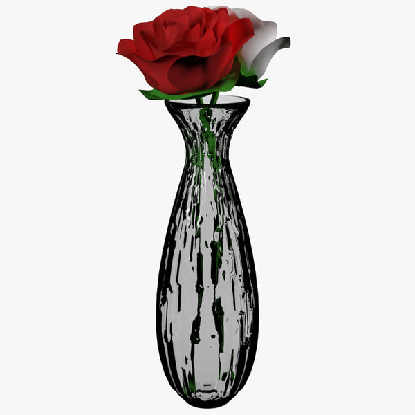 red rose flower glass vase model