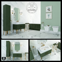 3D oasis luxury home bathroom furniture model