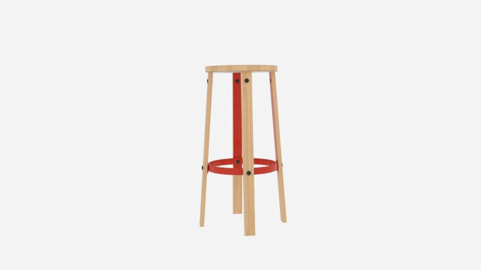 3D wood metal stool 01 model