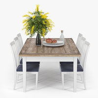 wooden dining 3D model
