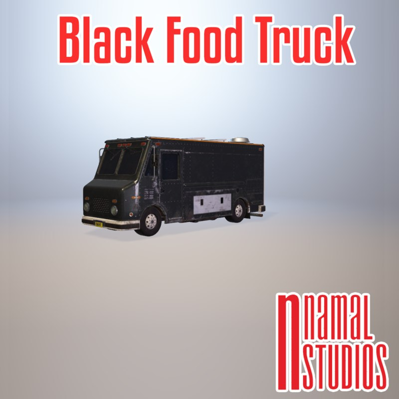 3D black food truck