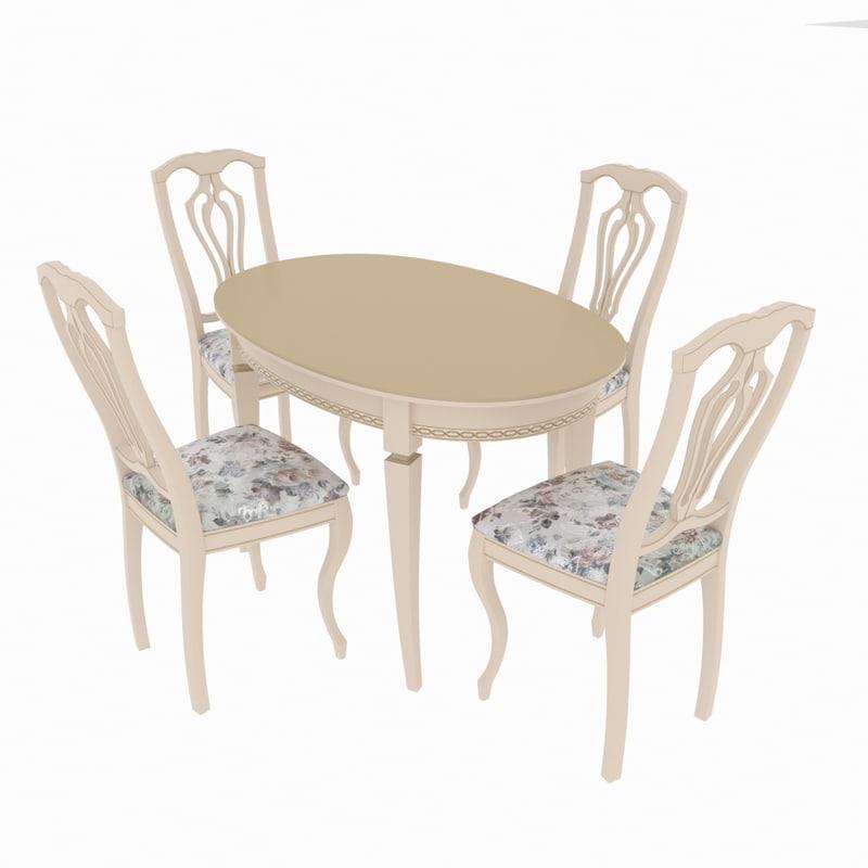3D model dining set table alt-5-12