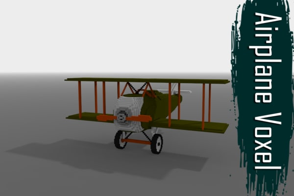 3D model voxel airplane