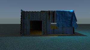 3D model shack corrugated metal